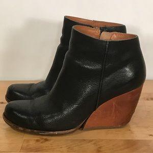 Kork-Ease Natalya Black Leather Wedge Ankle Bootie